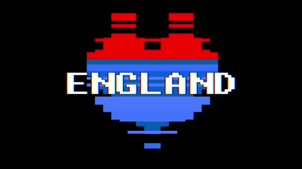 Coeur De Pixel Angleterre Mot Texte Glitch Interférence écran Boucle Parfaite Animation Background Nouvelle Dynamique Rétro Vintage Joyeuse Coloré Séquences Vidéo