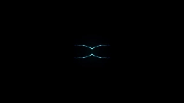 Animated BLUE Lightning Bolts Center Strike On Black Background Seamless Loop Animation New Quality Unique Nature