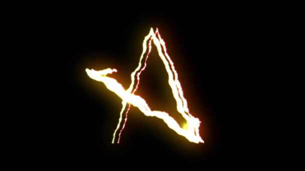 loopable RED YELLOW neon Lightning bolt STAR symbol shape flight on black background animation new quality unique nature light effect video footage
