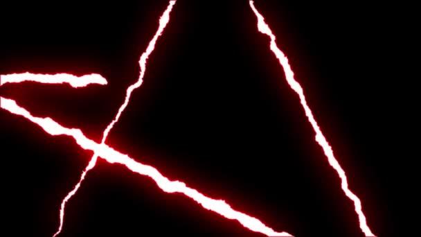 loopable piros neon villám Star szimbólum alakú járat a fekete háttér animáció új minőségi egyedi jellegű fényhatás videofelvétel