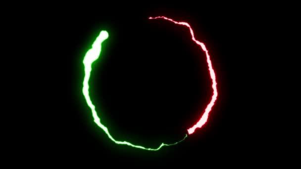 loopable-animált piros zöld villám csavarok kerek repülés sztrájk a fekete háttér animáció új minőségi egyedi dinamikus jellege fényhatás videofelvétel