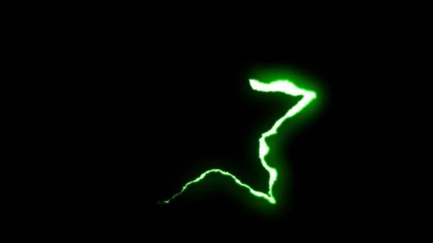 loopable-zöld neon villám Star szimbólum alakú járat a fekete háttér animáció új minőségi egyedi jellegű fényhatás videofelvétel