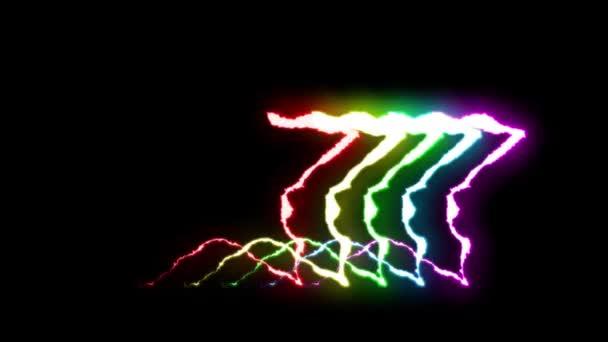 loopable szivárvány neon villám Star szimbólum alakú járat a fekete háttér animáció új minőségi egyedi jellegű fény hatás videofelvétel