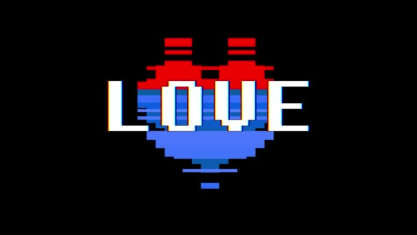 pixel heart LOVE word text glitch interference screen seamless loop animation background new dynamic retro vintage joyful colorful video footage