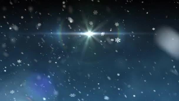 Animation Chute De Neige De Lumière étoile De Noël Fond Dynamique Du Mouvement Universel Qualité Nouvelle Animation Colorée Vacances Joyeuse Musique Vidéos