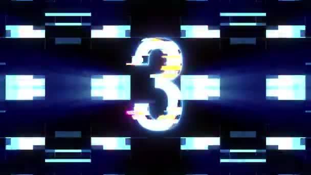 barevné laserové futuristické závada odpočítávání od 3 do 1 rušení pozadí čísla od 10 do 1 novou dynamickou dovolenou radostné techno videozáznam