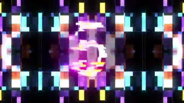 barevné laserové futuristické závada odpočítávání od 5 do 1 rušení pozadí čísla od 10 do 1 novou dynamickou dovolenou radostné techno videozáznam