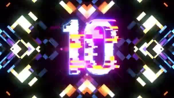 barevné laserové futuristické závada odpočítávání od 10 do 1 rušení pozadí čísla od 10 do 1 novou dynamickou dovolenou radostné techno videozáznam