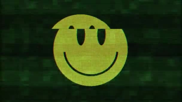 Smile symbol on digital old tv screen seamless loop glitch interference animation new dynamic retro joyful colorful retro vintage video footage