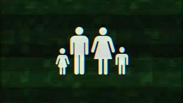 volle Familiensymbol Störschub Verzerrung holographischen Display Animation nahtlose Schleife Bildschirmhintergrund - animiert neue Qualität Universal nah bis Jahrgang dynamische bunten fröhliches cooles schönes video