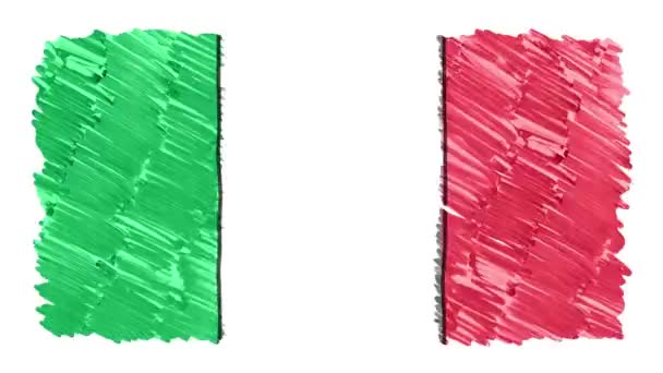 stop motion marker drawn ITALY flag cartoon animation background new quality national patriotic colorful symbol video footage