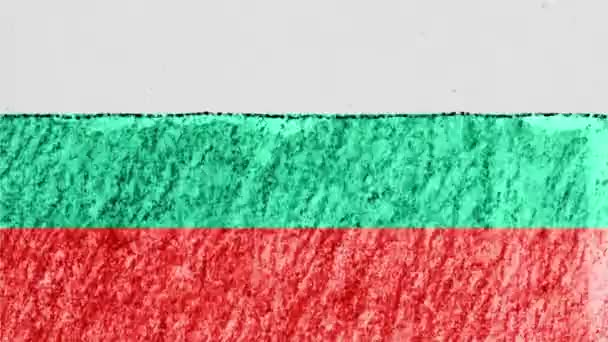 stop motion pastel chalk crayon drawn Bulgaria flag cartoon animation seamless loop background new quality national patriotic colorful symbol video footage