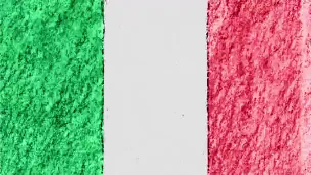 stop motion pastel chalk crayon drawn ITALY flag cartoon animation seamless loop background new quality national patriotic colorful symbol video footage