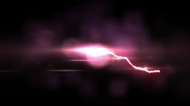animált Red villámvédelmi bolt járat a fekete háttér folyamatos hurok animáció új minőségi egyedi jellegű fényhatás videofelvétel
