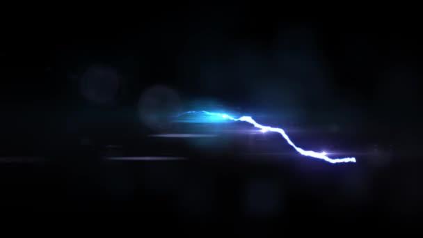 animált Blue Lightning bolt járat a fekete háttér folyamatos hurok animáció új minőségi egyedi jellegű fényhatás videofelvétel