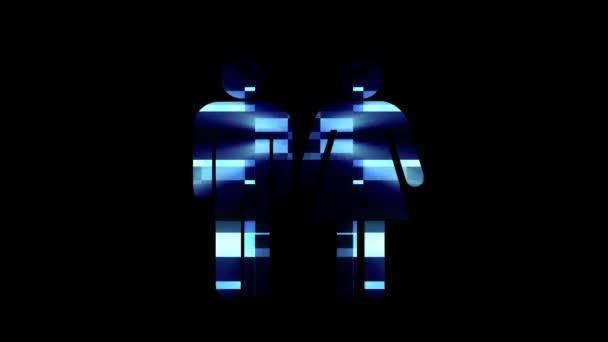 einfaches Paar Familie Symbol Panne Bildschirm Verzerrung holographische Anzeige Animation nahtlose Schleife Hintergrund - neue Qualität universal close up vintage dynamisch animiert bunt fröhlich cool schönes Video