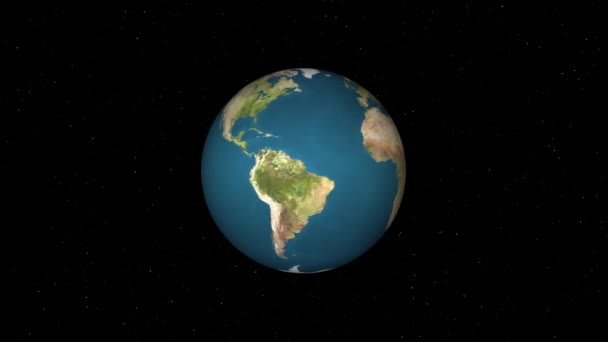 simple earth globe planet model rotating in stars space animation background loop New quality universal retro vintage colorful video