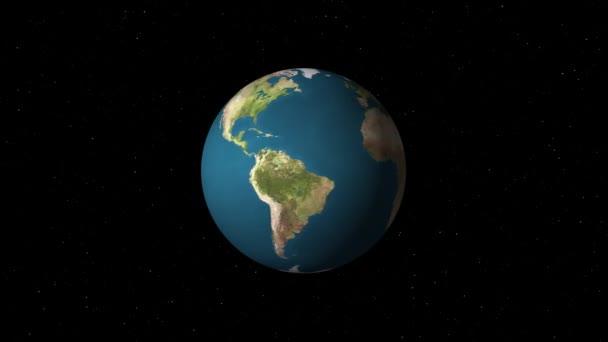 jednoduchý země světa planety modelu rotující v hvězdy prostoru animace pozadí smyčky nové kvalitní univerzální retro vintage barevné video
