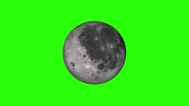 simple Moon planet model rotating seamless loop animation on green screen background New quality universal space colorful video