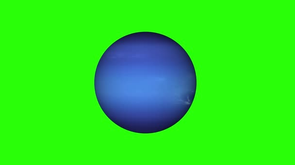 simple Neptune planet model rotating seamless loop animation on green screen background New quality universal space colorful video