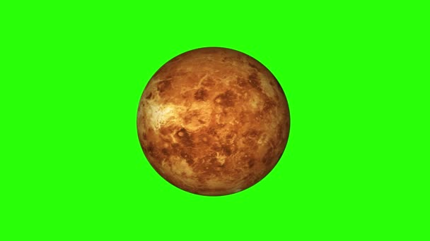 simple Venus planet model rotating seamless loop animation on green screen background New quality universal space colorful video