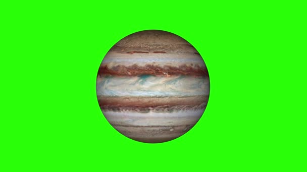 simple Jupiter planet model rotating seamless loop animation on green screen background New quality universal space colorful video