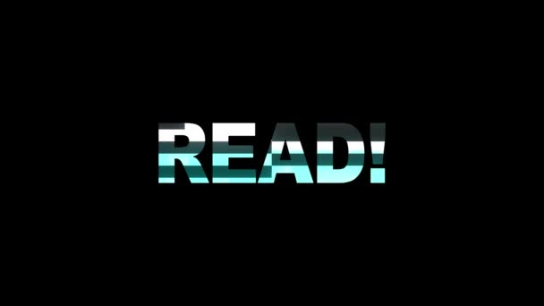 neon glitch READ word text animation background logo seamless loop New quality universal technology motion dynamic animated background colorful joyful video