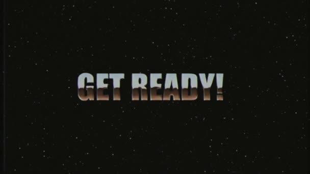 lesklé retro styl Vhs dostat připravený text fly dovnitř a ven ve hvězdách prostoru animace pozadí nové unikátní vintage krásné dynamické radostné barevné video stopáže