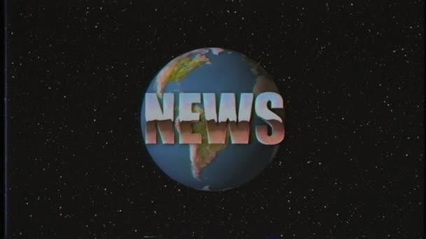 lesklé retro Vhs styl zprávy slovo fly dovnitř a ven do vesmíru hvězd a země kulatá animace pozadí nové unikátní vintage krásné dynamické radostné barevné video stopáže
