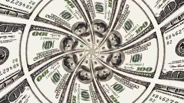 hypnotic endless blooming us dollar flower ornament seamless loop animation background new quality finance business cool nice beautiful 4k stock video footage