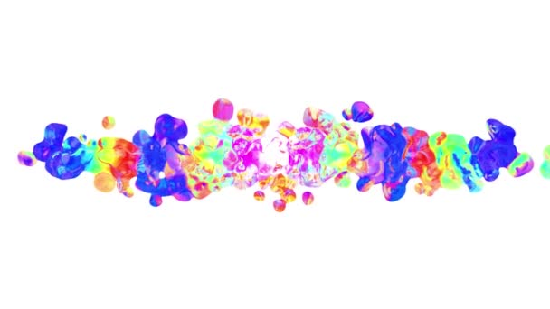 Rainbow Colorful Paint Splatter Blot Drops Spreading Turbulent Moving Abstract Painting Animation Background New Unique Quality Art Stylish Joyful Cool Nice Motion Dynamic Beautiful 4k Video Footage