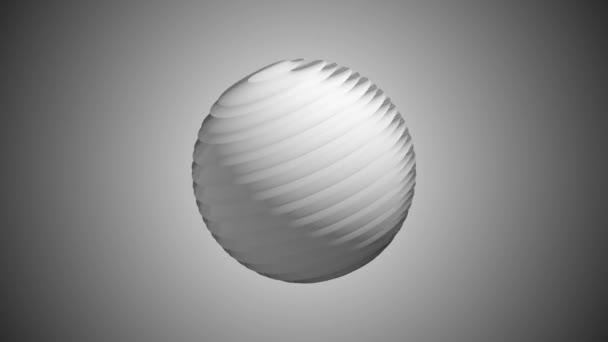 Bílá Žebrovaná míč otočení v prostoru bezešvé smyčka pozadí animace nové kvalitní nové kvalitní průmyslové techno stavební futuristické Super pěkné radostné videozáznam