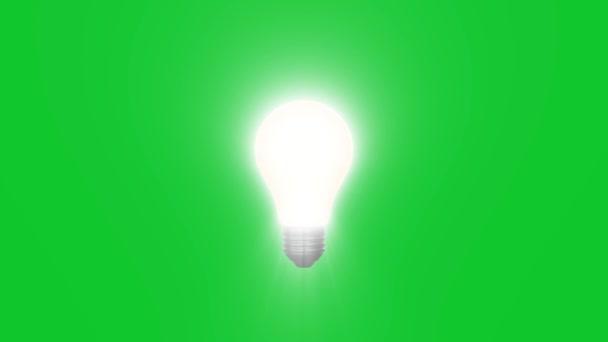 lampa LIGH žárovka zářící na zelené obrazovce animace pozadí nová kvalita přirozené osvětlení efekt dynamický barevný světlý video 4k logo burzovní záběry