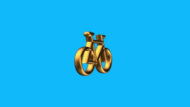 golden bicycle sign spinning animation seamless loop on blue background new quality unique financial business animated dynamic motion 4k video stock footage