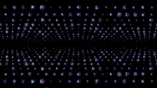 mnoho lesklých krystalů náhodné otáčení v barevném prostoru animace kouzlo pozadí nová kvalita Univerzální pohyb dynamický animovaný barevný radostný cool 4k burzovní video záběry