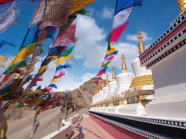 Tibetan Flags and Stupa with the wind, Leh , India