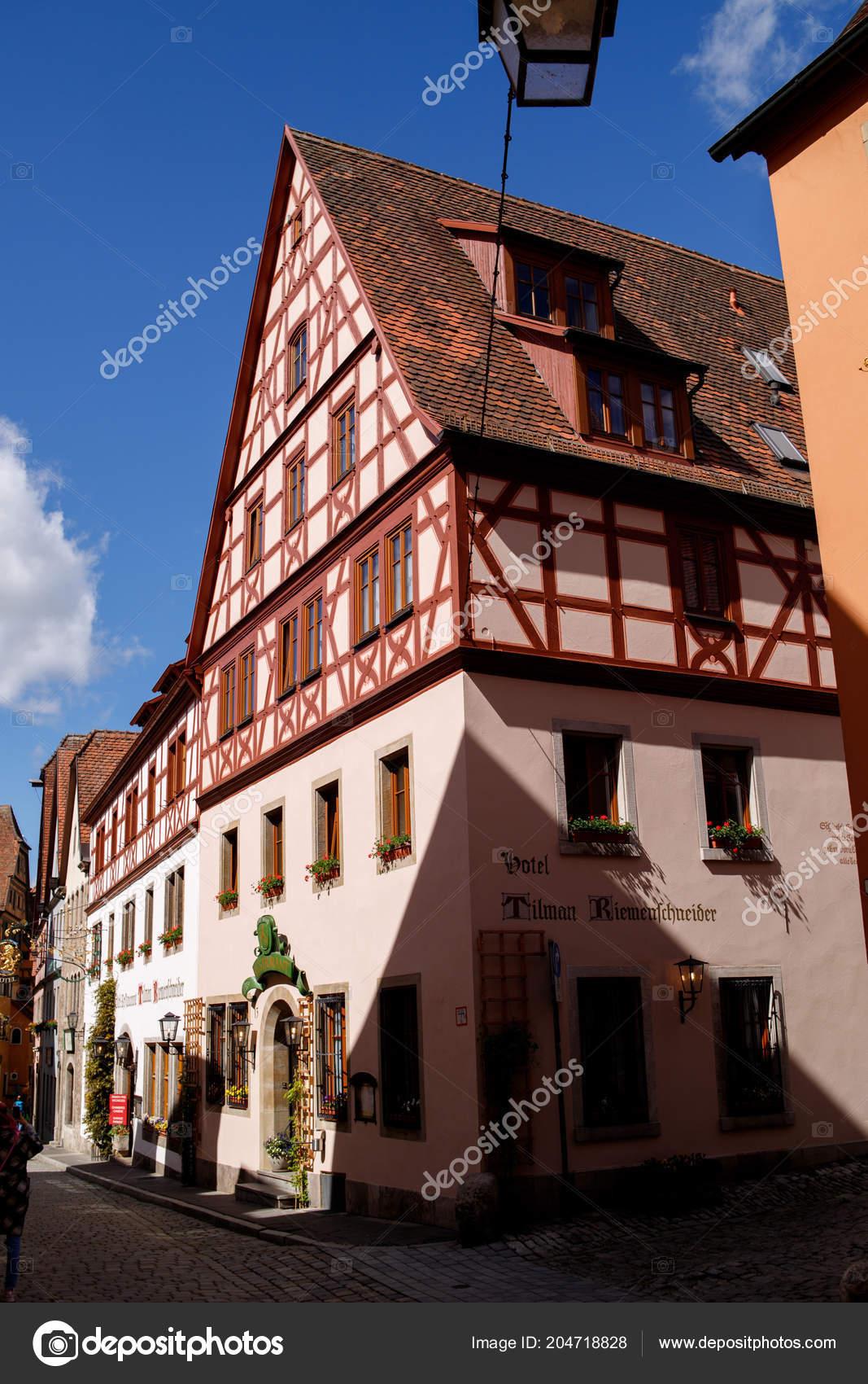 Schone Aussicht Auf Die Altstadt Von Rothenburg Der Tauber Franken