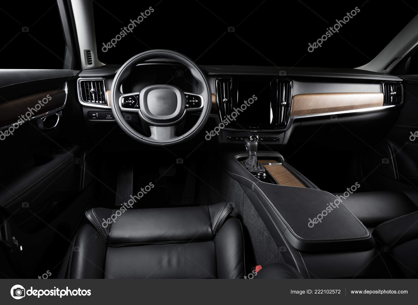 Dark Luxury Car Interior Steering Wheel Shift Lever Dashboard Car