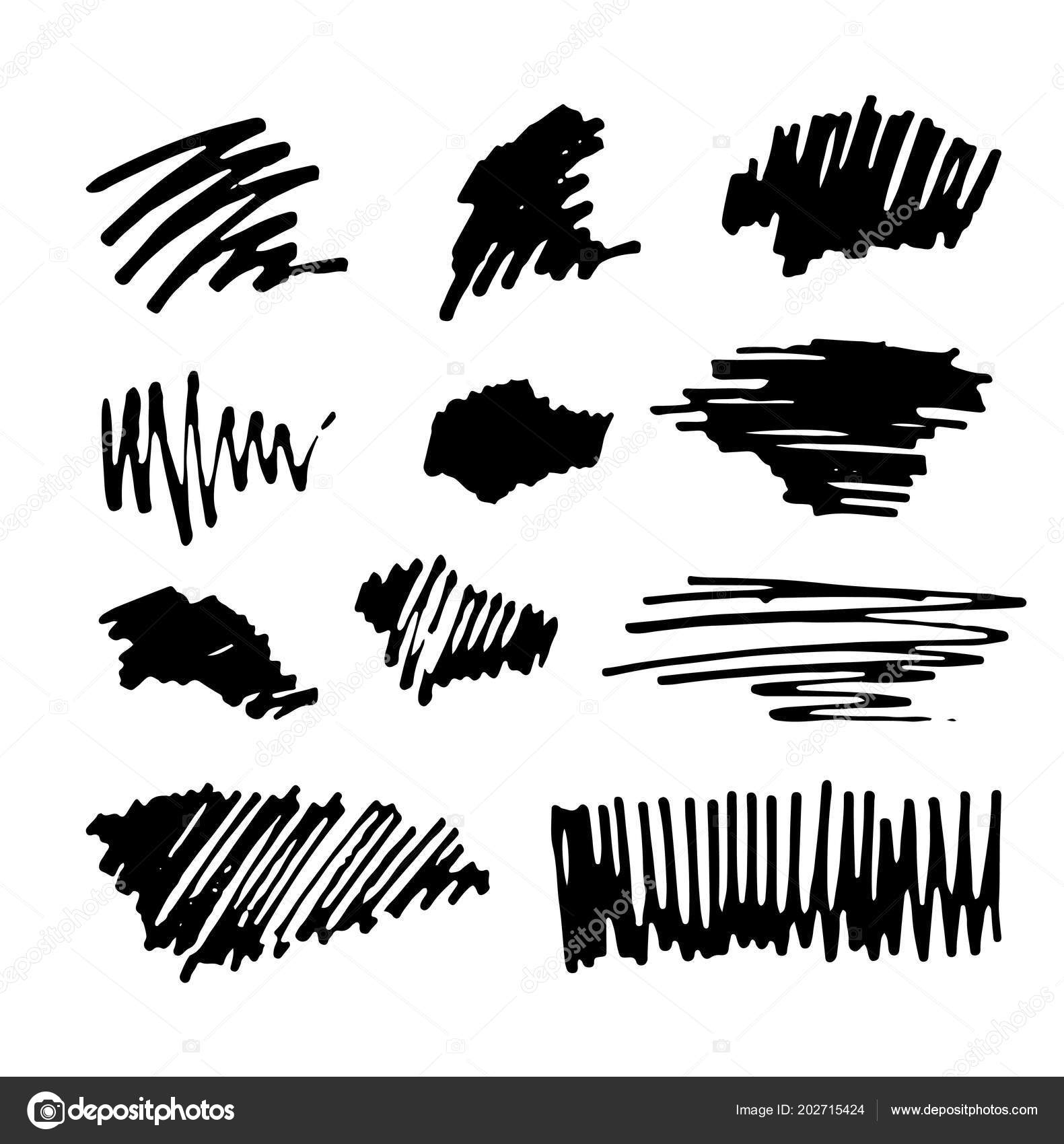 Set Hand Drawn Ink Brush Strokes Brushes Lines Collection
