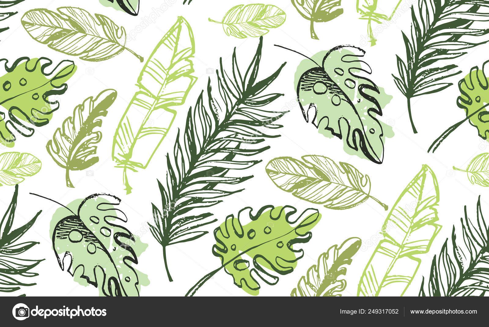 Hand Drawn Doodle Color Tropical Leaf Pattern Background Stock Vector C Jane55 249317052