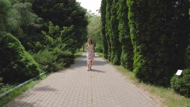 Pretty Woman In A Dress Walking On Alley Of Decorative Trees On A Summer Day