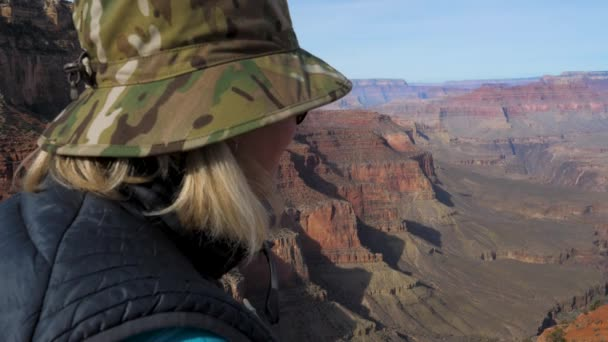 Woman Hiker Enjoys The Amazing View Of Grand Canyon From The Observation Point