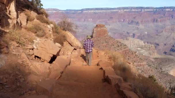 Man Hiking On A Hiking Trail In Grand Canyon National Park