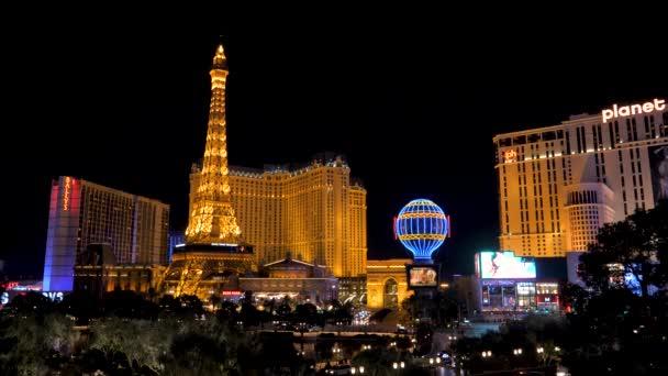 Las Vegas, USA November 07,2017: Night Neon Lights Las Vegas Paris