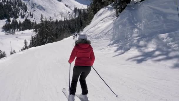 Mature Fat Skier Ski Downhill Skiing On The Mountainside In Winter