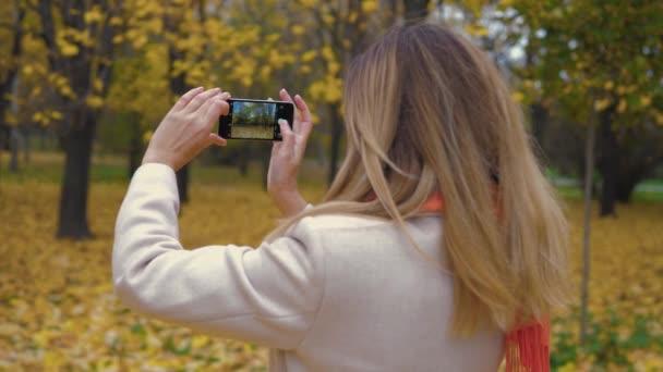 Frau im Herbstpark mit gelbem Laub nutzt Smartphone und macht Fotos