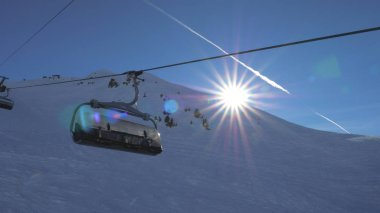 Ski Chair Lift In The Mountains The Sun Shines And Sunset