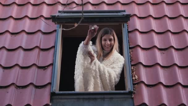 Portrait Happy Smiling Woman Opens A Window Of The House Looks At The Street