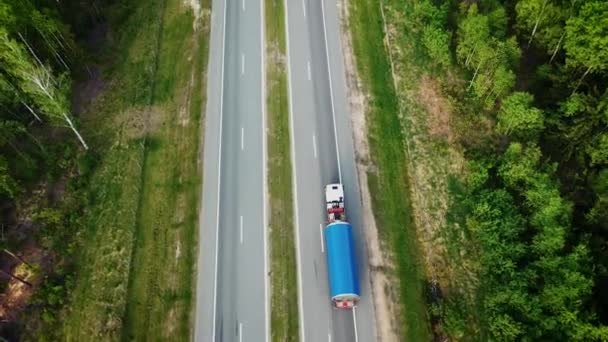 Aerial View Trucks Transports Large Cargo On The Intercity Highway