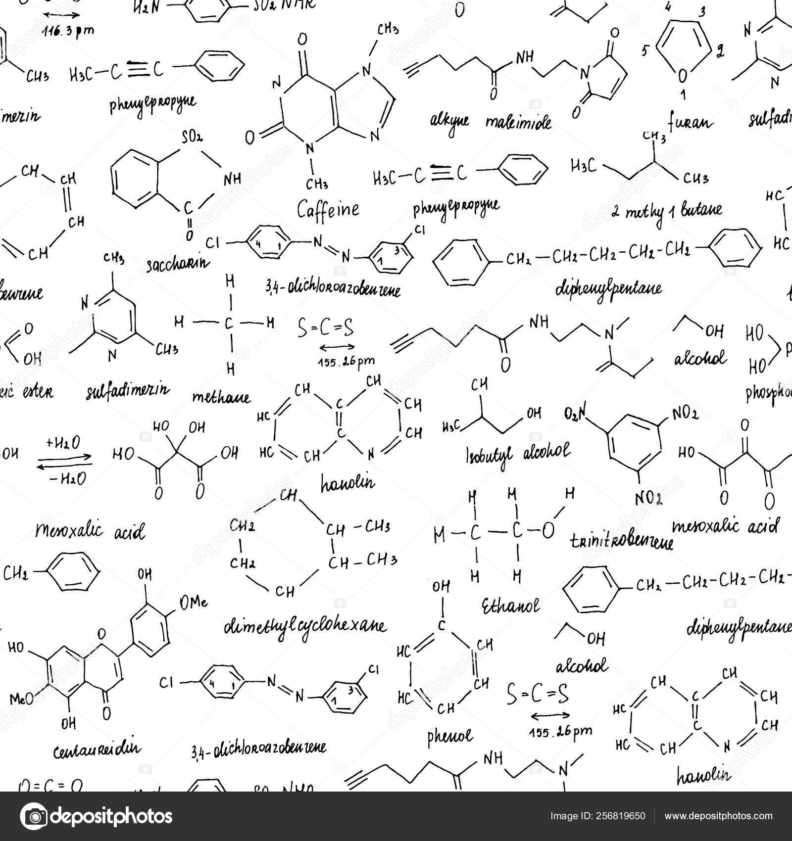 Organische Verbindungen Nahtlose Textur Skizze Der